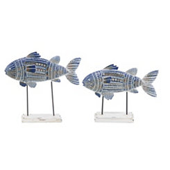 Painted Fish Finials, Set of 2