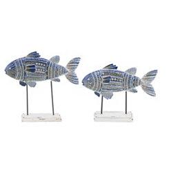 Painted Fish Finials, Set of 2
