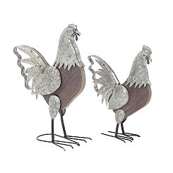 Galvanized with Wood Body Roosters, Set of 2