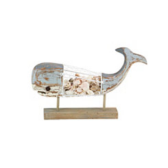 Wooden Shell-Filled Whale Finial