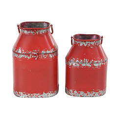 Distressed Red Metal Milk Cans, Set of 2