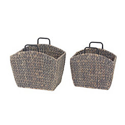 Woven Hyacinth Magazine Holders, Set of 2