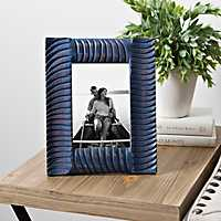 Distressed Blue Ribbed Picture Frame, 5x7