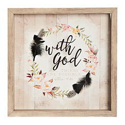 With God Floral Wreath Shadowbox
