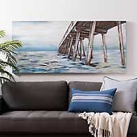 Dock Over Water Hand Painted Canvas Art Print