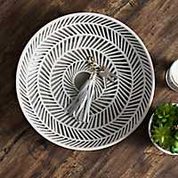 Gray Herringbone Decorative Charger