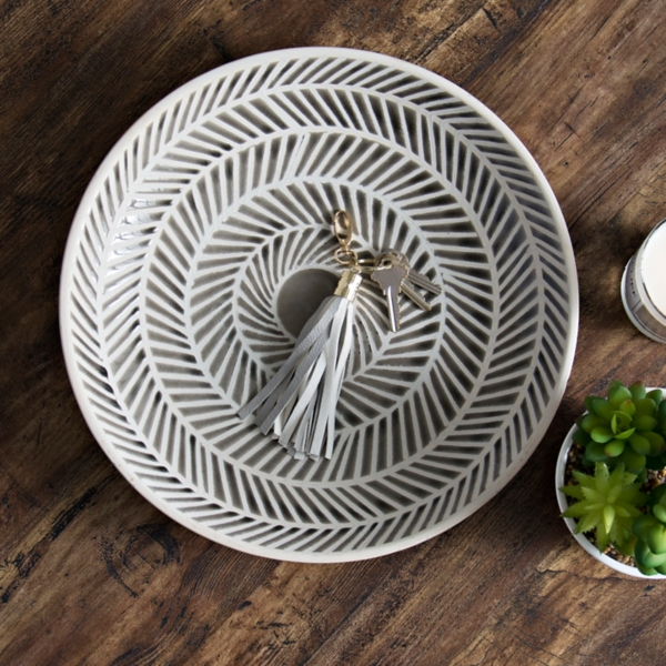 Gray Herringbone Decorative Charger : plates decorative - pezcame.com