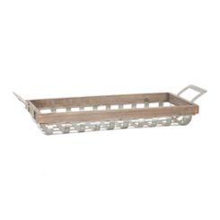 Woven Metal Tray with Wood Rim