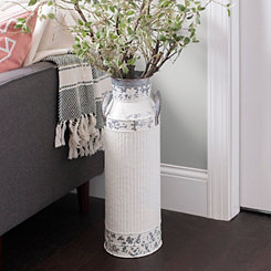 Distressed White Metal Jug Vase, 24 in.