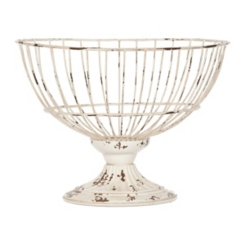 Distressed White Metal Wire Bowl, 11 in.