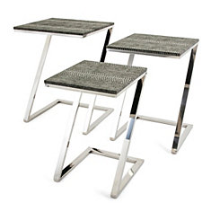 Clayton Faux Snakeskin Accent Tables, Set of 3