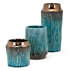 Embossed Turquoise Copper Dipped Vases, Set of 3