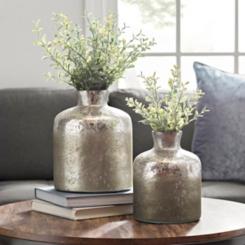 Zola Silver Mercury Glass Jug Vases, Set of 2