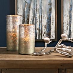 Zander Ombre Silver Mercury Glass Vases, Set of 2