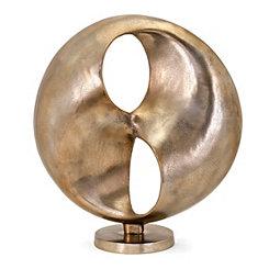 Wavy Circular Distressed Gold Sculpture