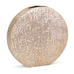 Gold Small Decorative Metallic Disk Vase