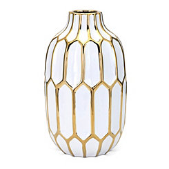 Honeycomb White and Gold Decorative Vase