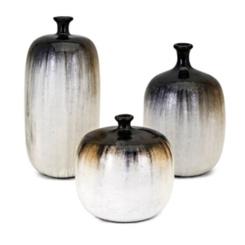 Neutral Drip Glaze Clay Vases, Set of 3