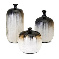 Neutral Drip Glaze Clay Vases, Set of 3