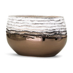 Rippled Metallic Bronze Decorative Vase