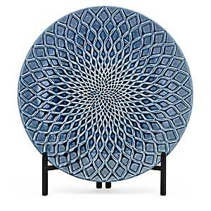 Glazed Blue Trellis Charger with Stand
