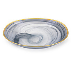 Blue Swirl Hand-Blown Glass Bowl
