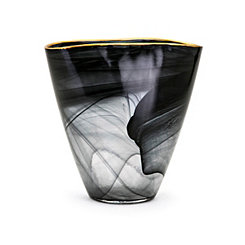 Black Swirl Hand-Blown Glass Vase
