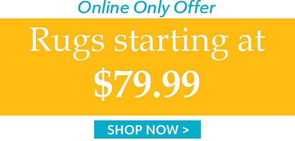 Online only offer! Rugs Starting at $79.99 - Shop Now
