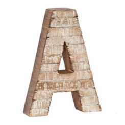Whitewashed Wood A Block Letter