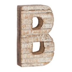Whitewashed Wood B Block Letter