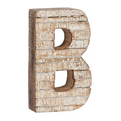 Whitewashed Wood B Block Letter