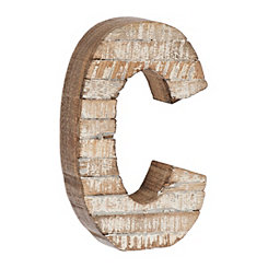 Whitewashed Wood C Block Letter