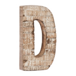 Whitewashed Wood D Block Letter