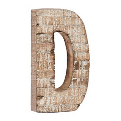 Whitewashed Wood D Block Letter