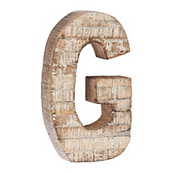 Whitewashed Wood G Block Letter