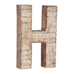 Whitewashed Wood H Block Letter