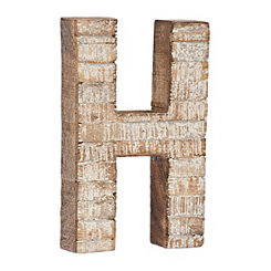 Whitewashed Wood H Block Letter
