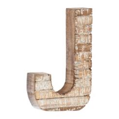 Whitewashed Wood J Block Letter