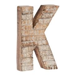 Whitewashed Wood K Block Letter