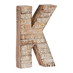 Whitewashed Wood K Block Letter