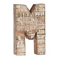 Whitewashed Wood M Block Letter