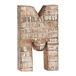 Whitewashed Wood M Block Letter