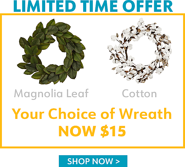 $15 Select Wreaths for a Limited Time   - Shop Now
