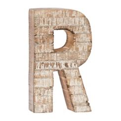 Whitewashed Wood R Block Letter