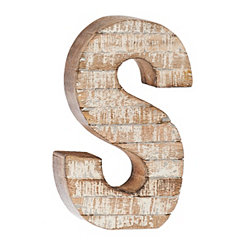 Whitewashed Wood S Block Letter