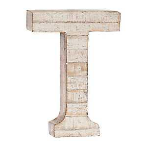 Whitewashed Wood T Block Letter