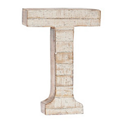 Whitewashed Wood T Block Letter