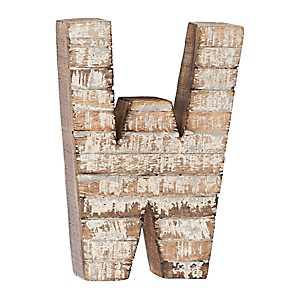 Whitewashed Wood W Block Letter