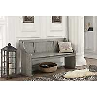 Distressed Gray Pine Bench
