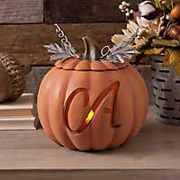Orange Pre-Lit Monogram A Pumpkin